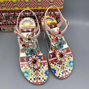 NIB DOLCE & GABBANA Majolica Jelly Sandals Flats